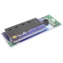 4 Way Surge Power Board Individual Switch Black