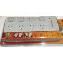4 Way Surge Power Board Individual Switch White